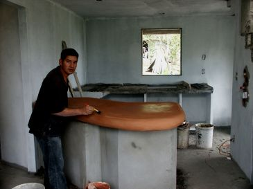 Colored cement counter top installation